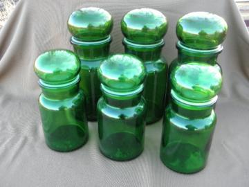Retro modgreen glass kitchen canisters, airtight seal canister jars set