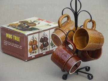Retro mug tree set, 70s vintage Japan ceramic coffee mugs & rack in box