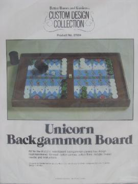 Retro needlepoint canvas / yarns kit for Unicorn backgammon game board