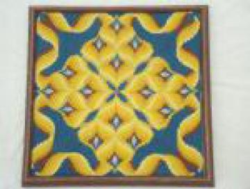 Retro op-art bargello needlepoint picture, mid-century vintage aqua & yellow