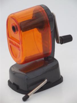 Retro orange pencil sharpener, Bulldog hand crank desktop pencil sharpener