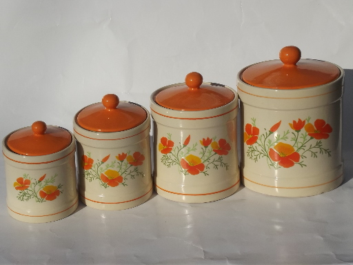 Retro orange poppies kitchen canisters set and breadboard for Kitchen set orange