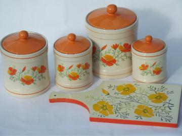 Retro orange poppies kitchen canisters set and breadboard, 70s vintage