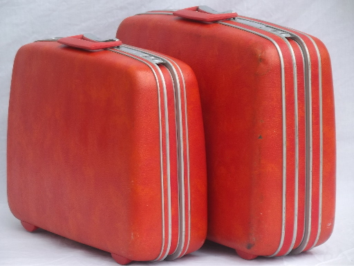 orange Samsonite hard sided suitcases, vintage luggage set