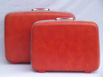 Retro orange Samsonite hard sided suitcases, vintage luggage set