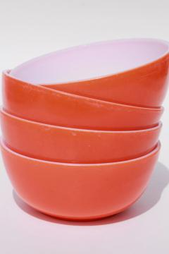 retro orange white milk glass cereal bowls, mid-century vintage kitchen glassware