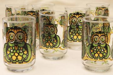 retro owl print Libbey glass drinking glasses, vintage tumblers green & gold wise old owls