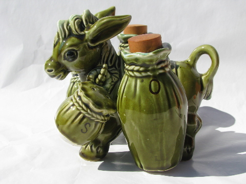 Retro pack donkey cruet set salt and pepper, 60s vintage Japan ceramic