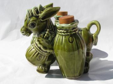Retro pack donkey cruet set salt and pepper, 60s vintage Japan ceramic