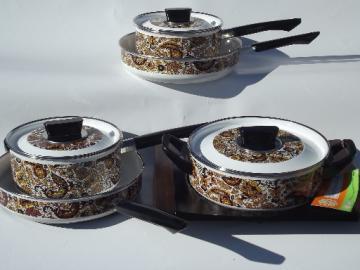 Retro paisley print enamel Fancipans cookware, vintage pots & pans set, never used