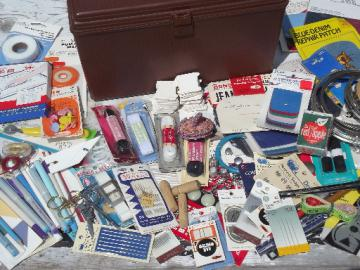 Retro plastic sewing box full of 60s 70s vintage notions, supplies