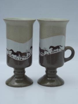 Retro pottery tall mugs, wild mustangs horse silhouettes on earth tones