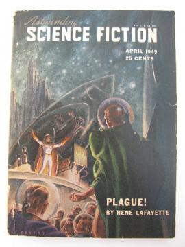 Retro pulp vintage sci-fi stories, Astounding Science Fiction magazine, April 1949