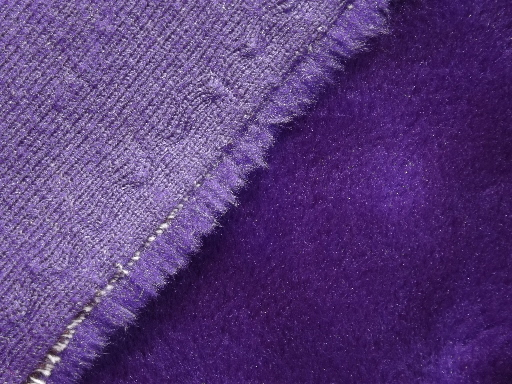 retro purple shag fake fur bedspread 70s vintage furry fabric throw or rug