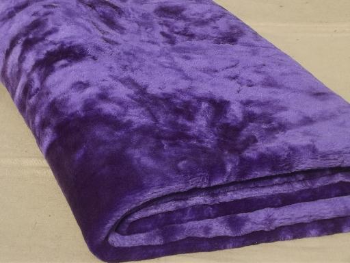 retro purple shag fake fur bedspread 70s vintage furry fabric throw or rug