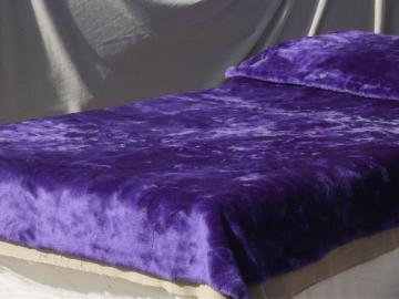 Retro purple shag fake fur bedspread,  70s vintage furry fabric throw or rug