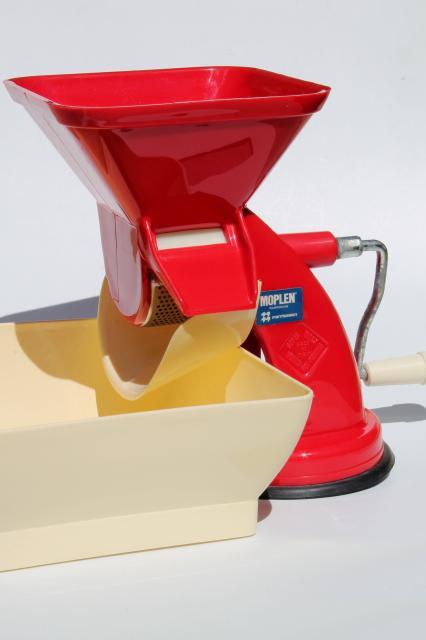 retro red plastic hand crank tomato sauce squeezo strainer