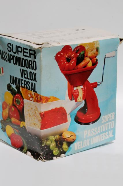 retro red plastic hand crank tomato sauce squeezo strainer juicer food mill made in Italy