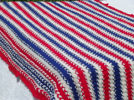 Retro Red White Blue Afghan For Patriotic 4th Or Election Day