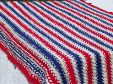 Retro red, white & blue  afghan, for patriotic 4th or election day!