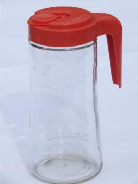 Retro refrigerator glass pitcher, bottle w/ orange plastic lid