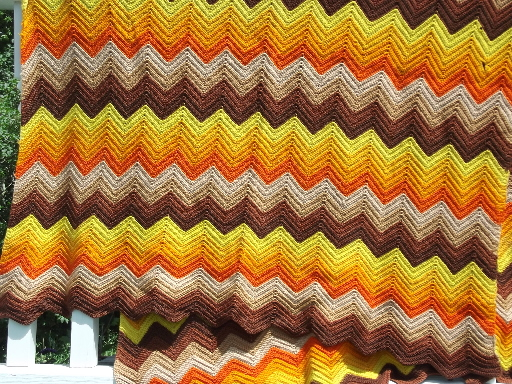 Retro ripple crochet afghan, autumn leaves colors orange gold brown