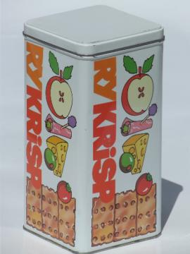 Retro Scandinavian modern vintage RyKrisp tin kitchen storage canister