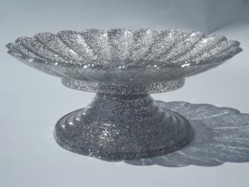 Retro silver glitter plastic footed scallop soap dish,  vintage bath