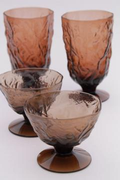 retro smoke brown Seneca driftwood crinkle glass, mod vintage glassware