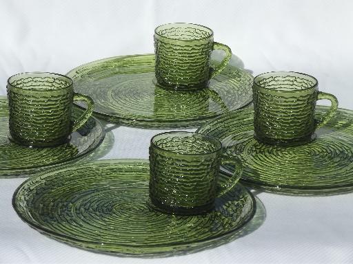 Retro Soreno glass snack sets cups & plates, vintage verde avocado ...