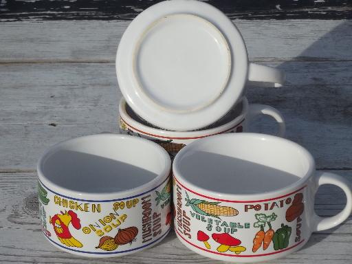 Retro soup mugs set, large bowls w/ cup handles 70s vintage stoneware