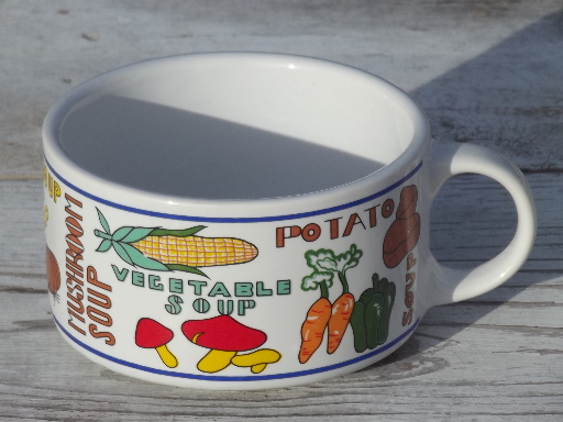 Retro Soup Mugs Set Large Bowls W Cup Handles 70s