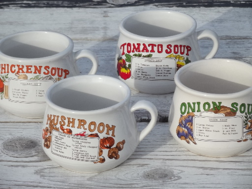 Retro soup mugs set, recipe print bowls w/ cup handles, 70s vintage