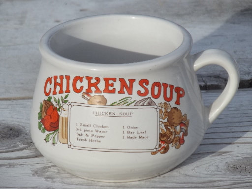 Retro Soup Mugs Set Recipe Print Bowls W Cup Handles 70s Vintage