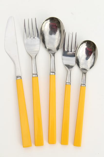 Retro Stainless Flatware With Yellow Plastic Handles 70s