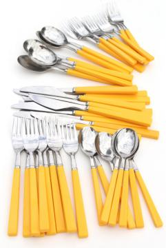 retro stainless flatware with yellow plastic handles, 70s 80s vintage Anacapa Japan