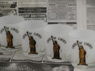 Retro Statue of Liberty bar glasses, set of 4 decorated glass tumblers