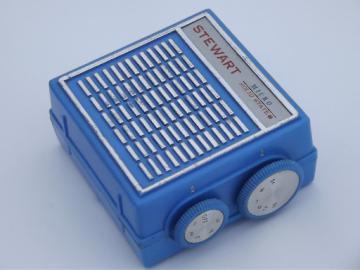 Retro Stewart Micro solid state radio, vintage 9 volt transistor radio
