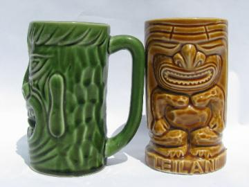 Retro tiki cups, vintage pottery mug and tumbler for tropical drinks