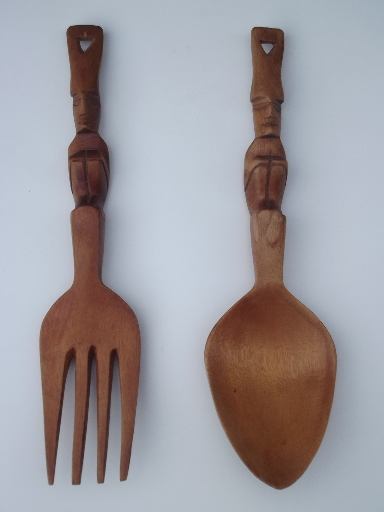retro tiki hand carved wood fork and spoon wall hangings or salad servers. Black Bedroom Furniture Sets. Home Design Ideas