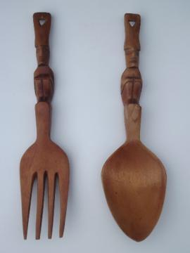 Retro tiki hand carved wood fork and spoon, wall hangings or salad servers