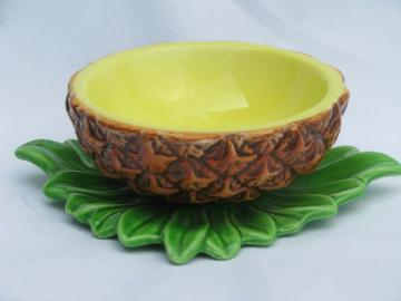 Retro tiki tropical pineapple shape sauce or salsa bowl, vintage Japan