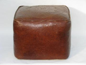 Retro tooled leather look cube footstool hassock, vintage naugahyde