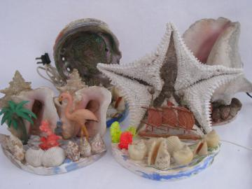 Retro tropical beach TV lamps, all seashells, conch shell abalone starfish lamp lot