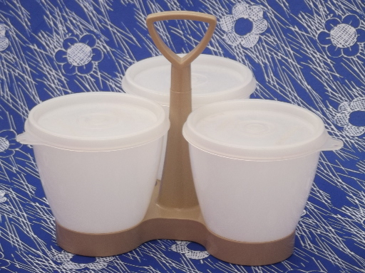 Retro Tupperware relish condiment carrier server, rack & jars w/ lids