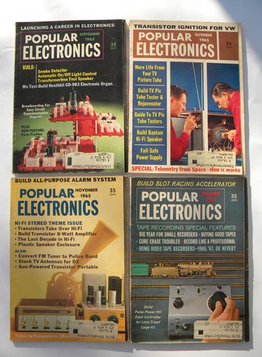 Retro vintage 1965 full year Popular Electronics magazine w/DIY projects