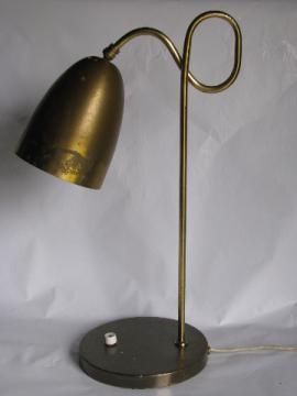 Retro vintage 50s - 60s desk light reading lamp, mod torpedo bullet metal shade