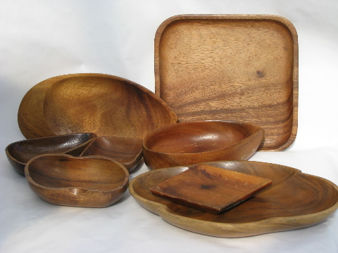 & Retro vintage 60s - 70s wood plates trays bowls mod shapes