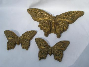Retro vintage 70s chalkware wall plaques, big gold butterflies