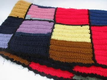 Retro vintage 70s crochet afghan blanket, color blocks w/ black